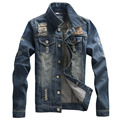 Джинсовой Куртке мужчины способа высокого качества Джинсы Куртки Ripped Отверстия Slim fit Vintage Мужские Куртки и Пальто на открытом воздухе Джинсы одежда