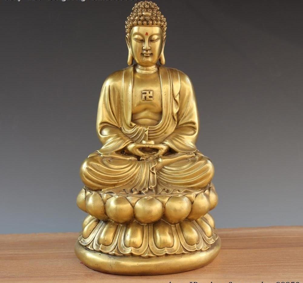 Cina Buddismo Ottone Rame Tathagata Amitabha Amitayus Sakyamuni Buddha StatueCina Buddismo Ottone Rame Tathagata Amitabha Amitayus Sakyamuni Buddha Statue