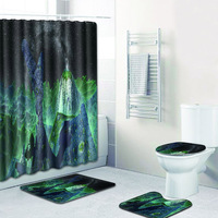 4 sets bathroom carpet bath mat and Shower curtain and Toilet seat cover non slip carpet with aurora in bathroom mat rug