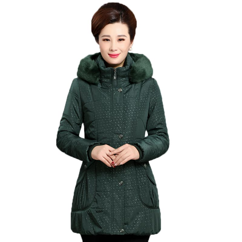 Middle Aged Women Warm Winter Jacket Fur Collar Hooded Cotton Coat Plus Size Thick Slim Parkas Female Wadded Jacket NW0007 2015 winter new women medium long 8 colors l 4xl hooded wadded outwear coat fur collar thick warm cotton jacket parkas lj2992