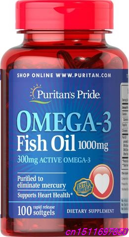 Pride Omega-3 Fish Oils- 1000 mg (300 mg Active Omega-3) 1000 mg / 100/bottleSupports heart health*Purified to eliminate mercury 1000mg 100 pcs fish oil bottle for health capsules omega 3 dha epa with free shipping