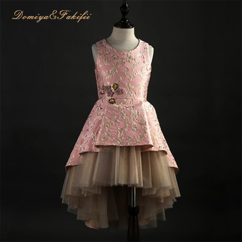 2018 Hot New Champagne Puffy Lace Flower Girl Dress for Weddings Sleeveless Ball Gown Girl Party Communion Pageant Gown Vestidos fashionable sleeveless sequins embellish multilayered flower spliced mini ball gown dress for girl