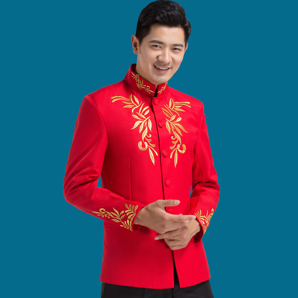 Zhongshan suits Chinese stand collar red blue white suits Men\'s ...