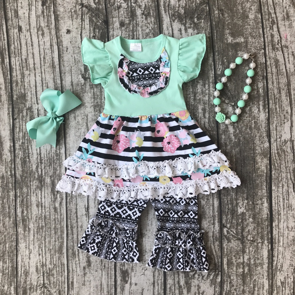 summer baby girls outfits mint kids wear boutique Aztec capris cotton ruffles striped floral clothes with matching accessories kids clothes girls boutique clothing girls back to school outfits girls summer outfits with matching headband