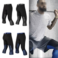 Top Quality Mens Compression 3/4 Pants Quick Dry Elasticity Spandex Jogger Tights Fitness Pants Skinny Leggings running Trousers