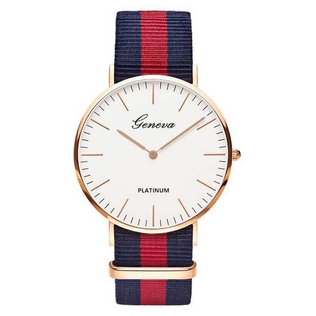 Fashion Casual Quartz Watch with Multicolor Nylon Cloth Watchband Wristwatch Simple Designer Women Men Watches Clock Orologio
