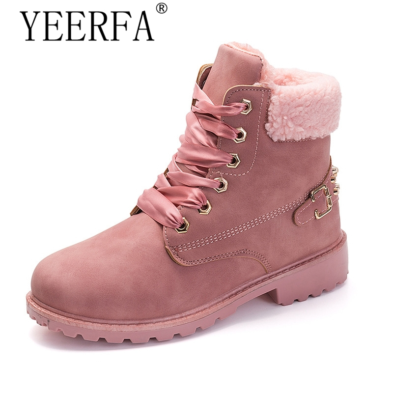 New Pink Women Boots Lace up Solid Casual Ankle Boots Martin Round Toe Women Shoes winter snow boots warm british style 2017 embellished sweety girl love pink peach women martin boots short shoe ankle lace up crystal sequins flat round toe shoe