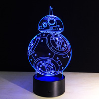 Creative Gifts Star Wars Lamp 3D Night Light Robot USB Led Table Desk Remote Contro As