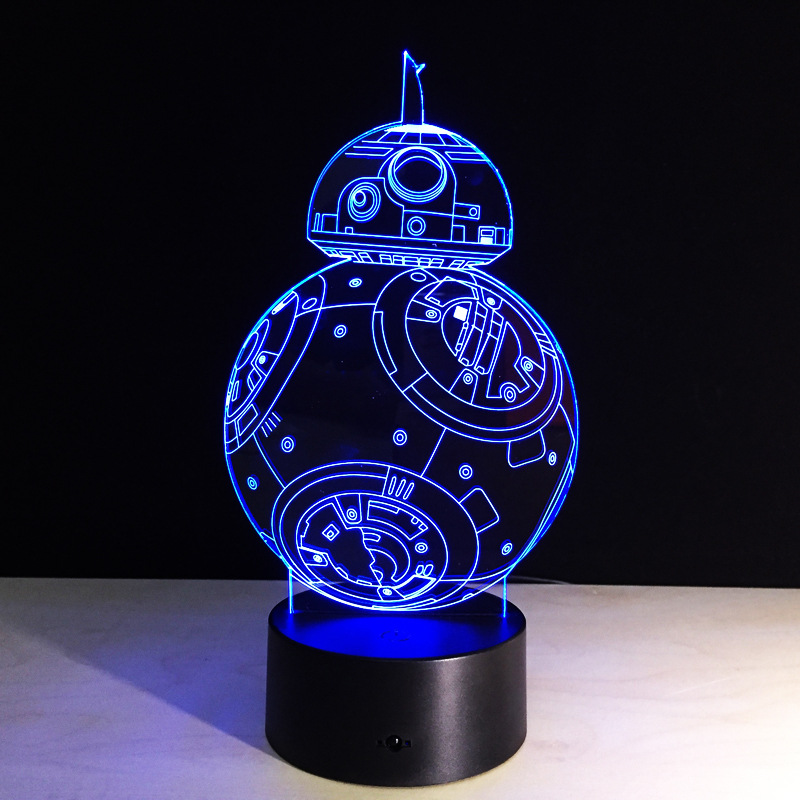 Regalos creativos Lámpara Star Wars 3D Luz nocturna Robot USB Led Mesa Escritorio Control remoto Control como decoración del hogar Dormitorio Lectura Luz nocturna