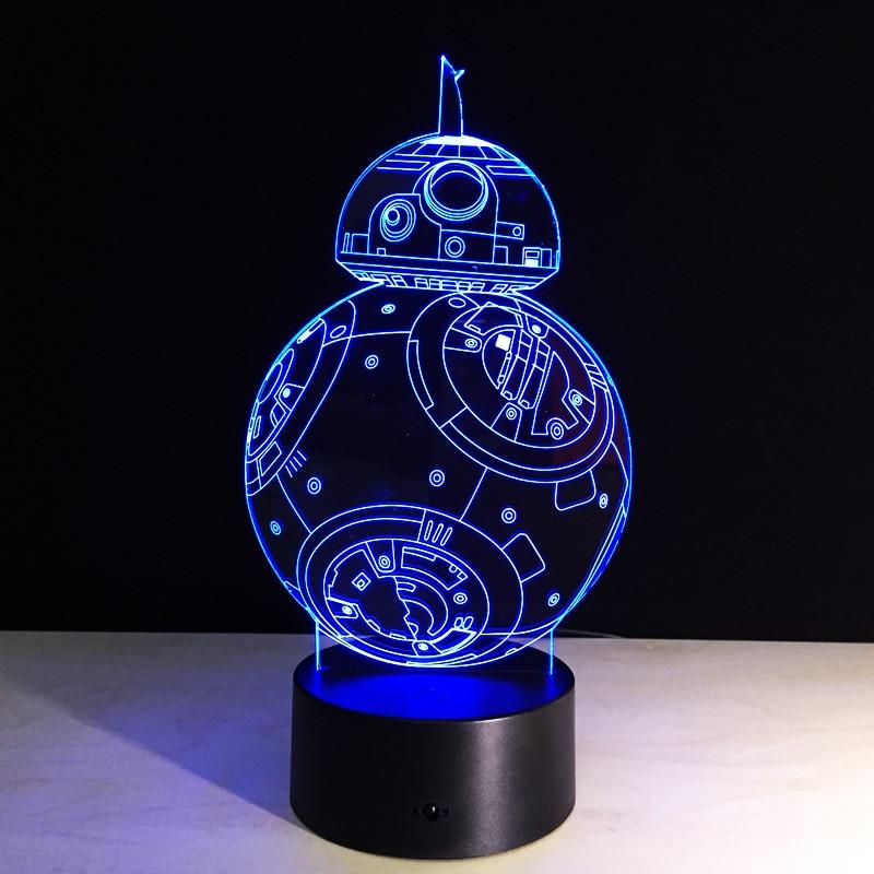 Cadeaux Créatifs Star Wars Lampe 3D Night Light Robot USB Led Table - Veilleuses - Photo 1