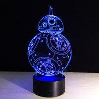 Yaratıcı Hediyeler Star Wars Lambası 3D Gece Işık Robot USB Led Masa Masa Ev Dekor Yatak Odası Okuma olarak Uzaktan Contro Nightlight