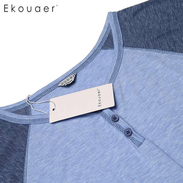 Ekouaer Men Sleepwear Casual Sleep Nightshirt Comfort Short Sleeve Lightweight Tall Sleepshirts Loose Nightwear Sleep Pajama