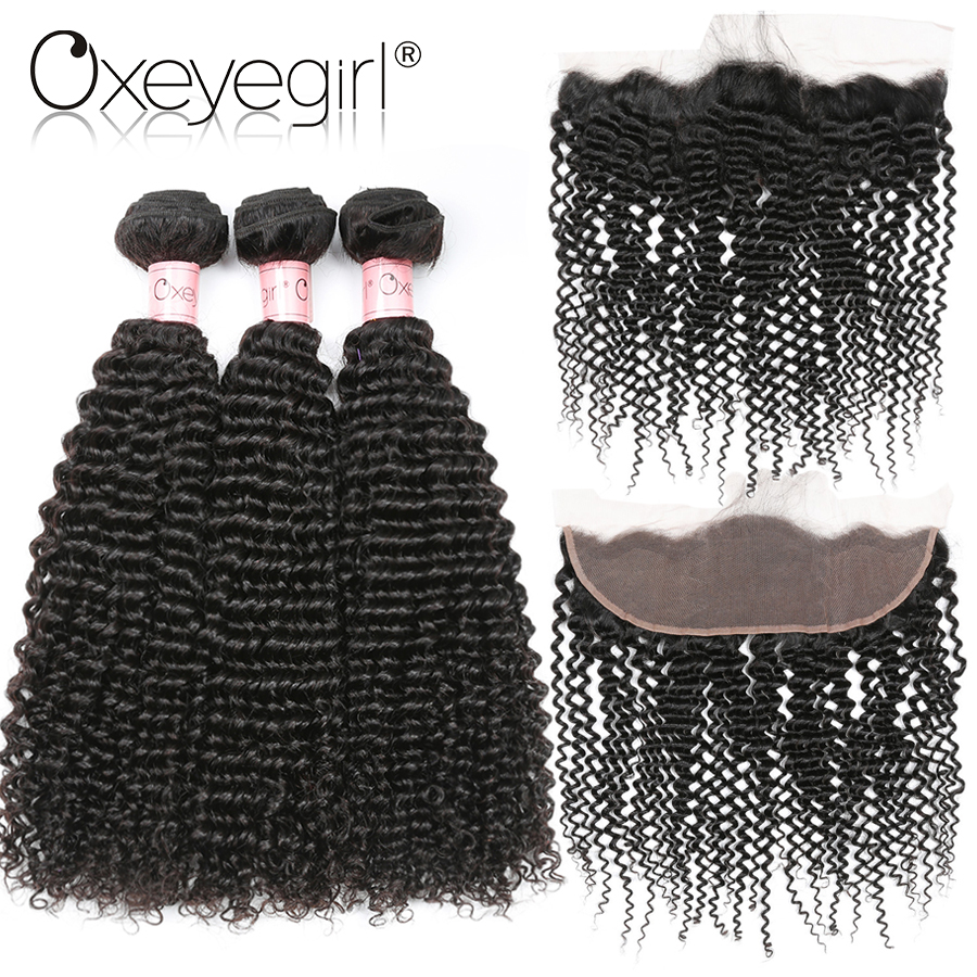 Oxeye Girl Peruvian Hair Bundles With Closure 4Pcs/Bag Kinky Curly Human Hair Bundles With Closure Non Remy 13x4 Lace Frontal