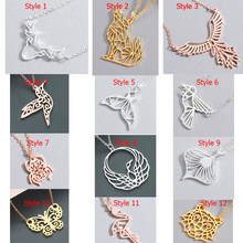 Chandler Origami Animal Necklaces Stainless Steel Flamingo Phoenix Bird Chain Necklace For Girl Wolf Butterfly Geometry Chocker(China)