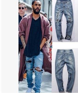 1 west slp rockstar designer brand slim denim blue destroyed ripped skinny leisure pants zipper fly jeans trousers