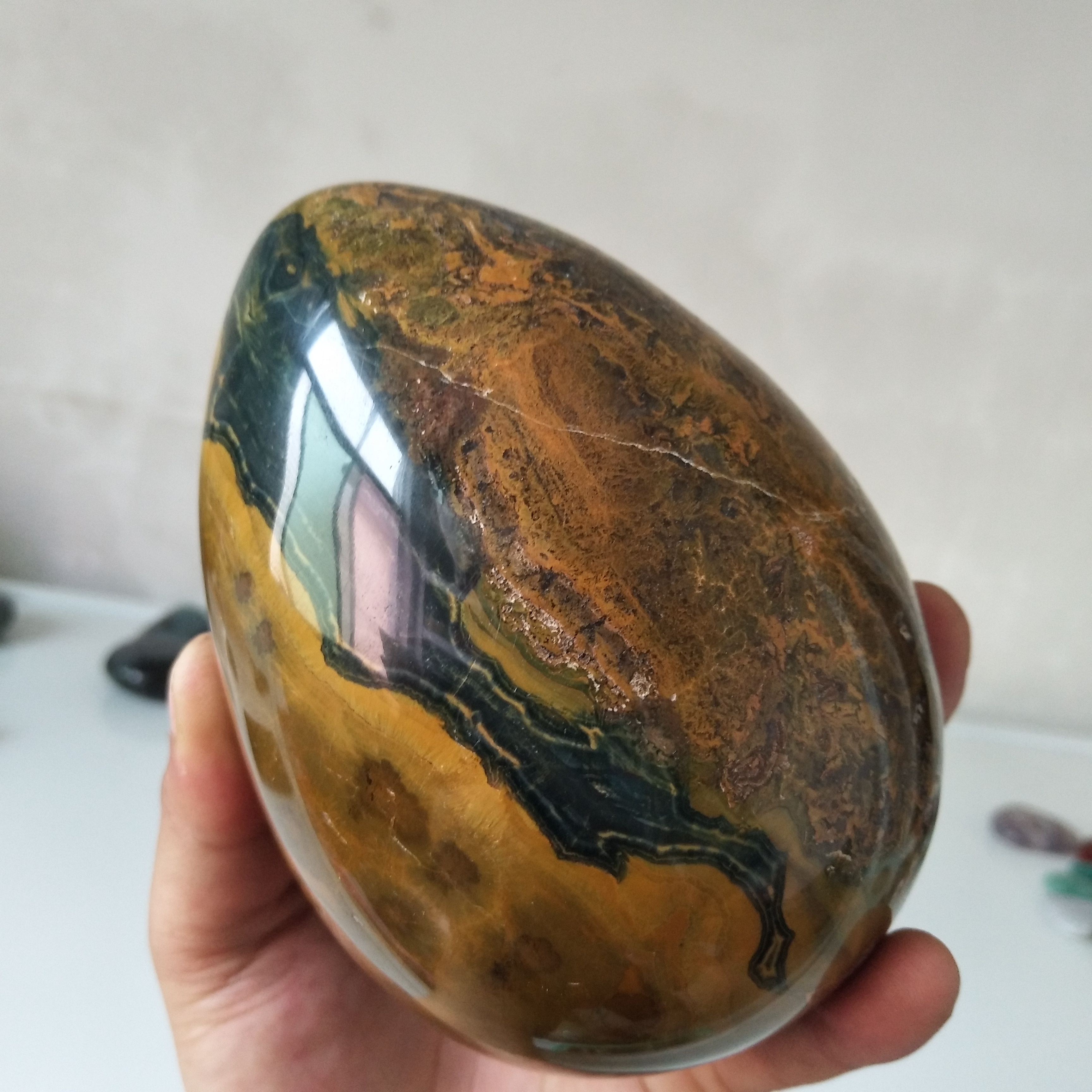 Décoration de la maison en 2 pièces | Pierre surdimensionnée jaspe d'océan, cristal œuf, cristaux de traitement feng shui chakra