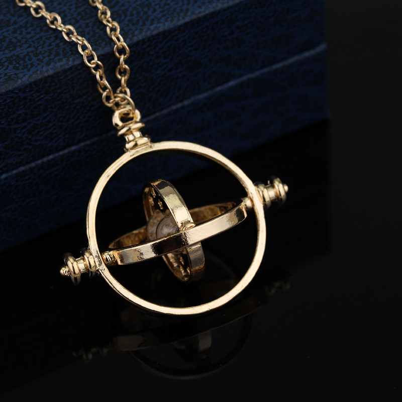 Movie Jewelry Time Turner Necklace Magic Student Hermione Granger Rotating Hourglass Pendants Necklaces