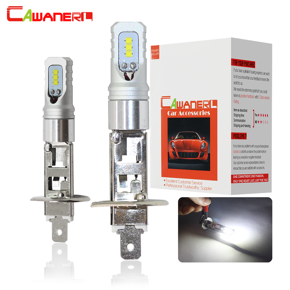 Cawanerl H1 LED Bulb 80W 3200LM Each Set Car Fog Light DRL Daytime Running Lamp CSP 6000K White 12V Car Styling 2 Pieces