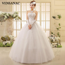 VENSANAC 2018 Crystal Pleat Strapless Lace Appliques Ball Gown Wedding Dresses Sequined Off The Shoulder Bridal Gowns