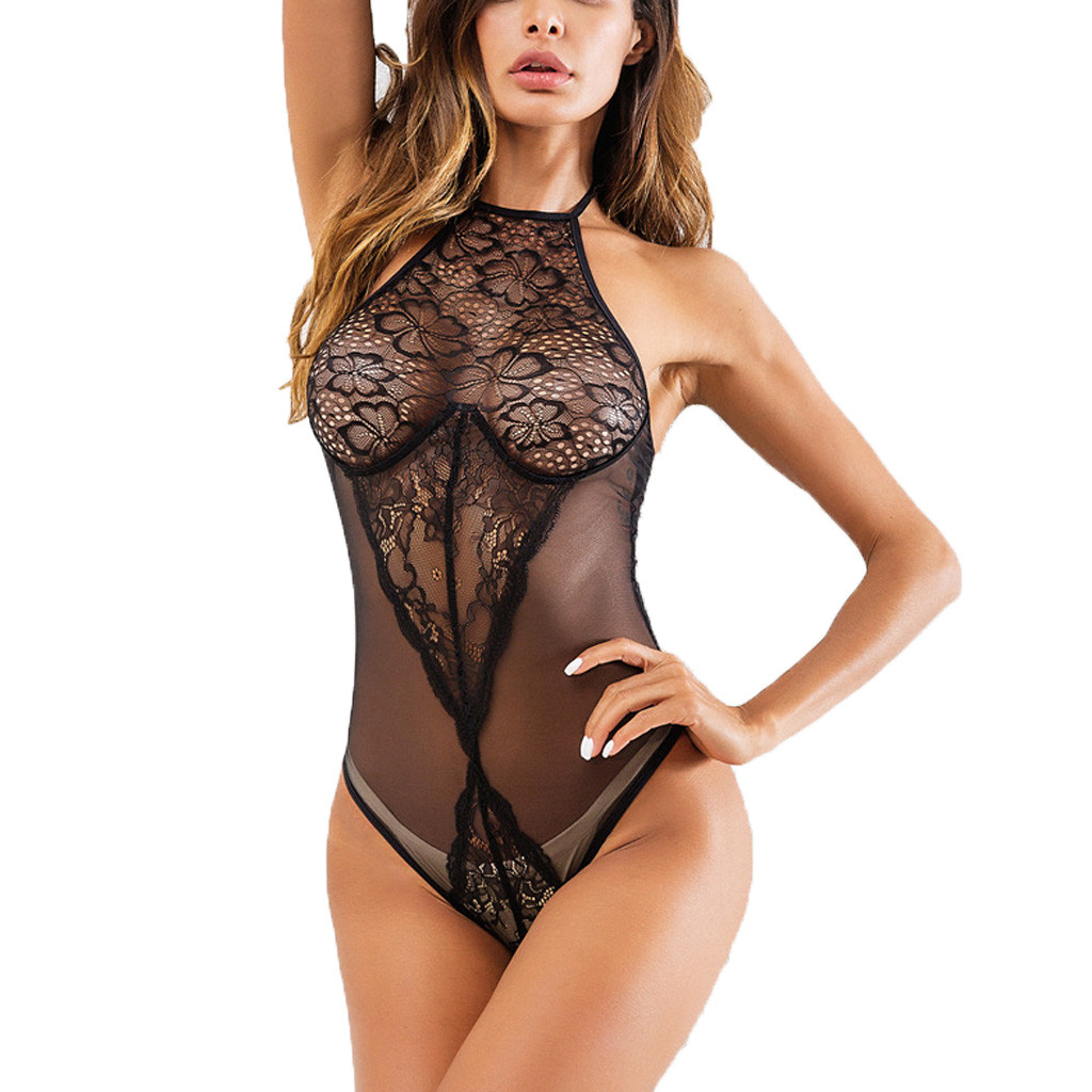 Sexy Lace Bodysuit Hollow Out Overalls Womens Sexy Babydoll Sleepwear Erotic Transparent Clothes Nightwear Under Wear Tops