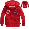 Niños chaqueta y abrigo de niños de la manera niños de la capa outwear cremallera del otoño del resorte niños spiderman chaqueta de cremallera con capucha