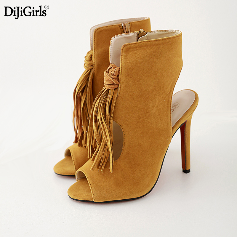 Dijigirls Sexy high heels tassel Open toe Ankle boots fashion bride wedding high heel shoes womens slingbacks party sexy pumps