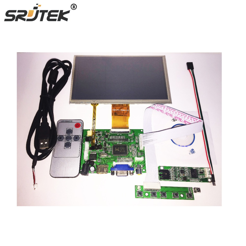 Srjtek7 inch LCD Panel Digital LCD Screen + Touch screen and Drive Board(HDMI+VGA+2AV) for Raspberry PI Pcduino Cubieboard hdmi vga 2av lcd driver board vs ty2662 v1 71280 800 n070icg ld1 ld4 touch panel