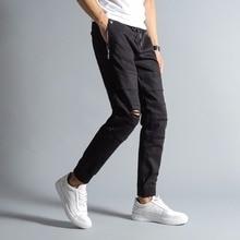 New Arrival Top Quality Fashion Mens Jeans Jogger Pants Black Color Denim Ankle Banded Jeans Men Brand Designer Jeans Men!3170 недорго, оригинальная цена