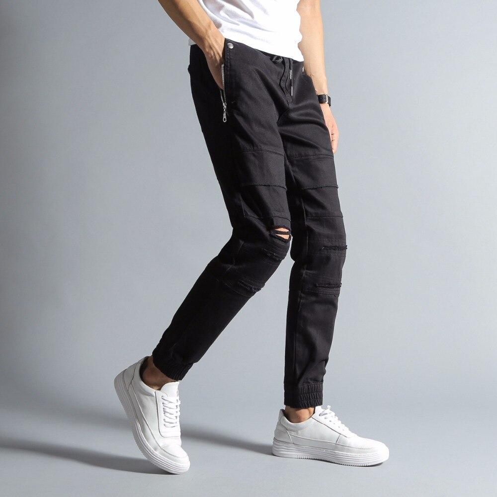 New Arrival Top Quality Fashion Mens Jeans Jogger Pants Black Color Denim Ankle Banded Jeans Men Brand Designer Jeans Men!3170