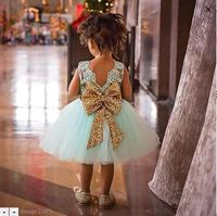 2017 New Summer Cute Baby Kids Girls Princess Bow Tie Pink Polka Dot Sequins Tulle Tutu