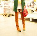 Envío Libre 2016 de Invierno Nuevo estilo botas de Las Mujeres Botas Planas de Moda inferior Botas Zapatos botas Sobre La Rodilla Del Muslo de Alta Suede Botas Largas