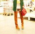 Frete Grátis 2016 Inverno Novo estilo de botas Mulheres Botas de Moda Plana Sapatos Botas de fundo Sobre O Joelho Coxa Alta Camurça Botas Longas