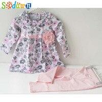 Sodawn/Одежда для маленьких девочек с цветочным рисунком, комплект одежды для маленьких девочек, хлопковый костюм для малышей, детская одежда ...