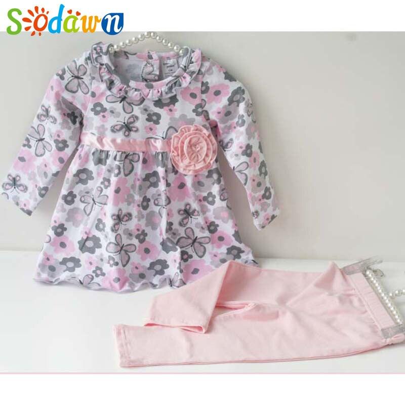 Sodawn תינוק בנות בגדים פרחוני תינוק בנות בגדי חליפת פעוט כותנה חליפת ילדי ילדה תלבושות אביב אימונית תינוקות בגדים