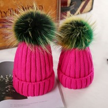 Beanies-Caps Pompom Knitted-Hats Acrylic Rainbow-Color Real-Fur Girls Winter Thick Kids