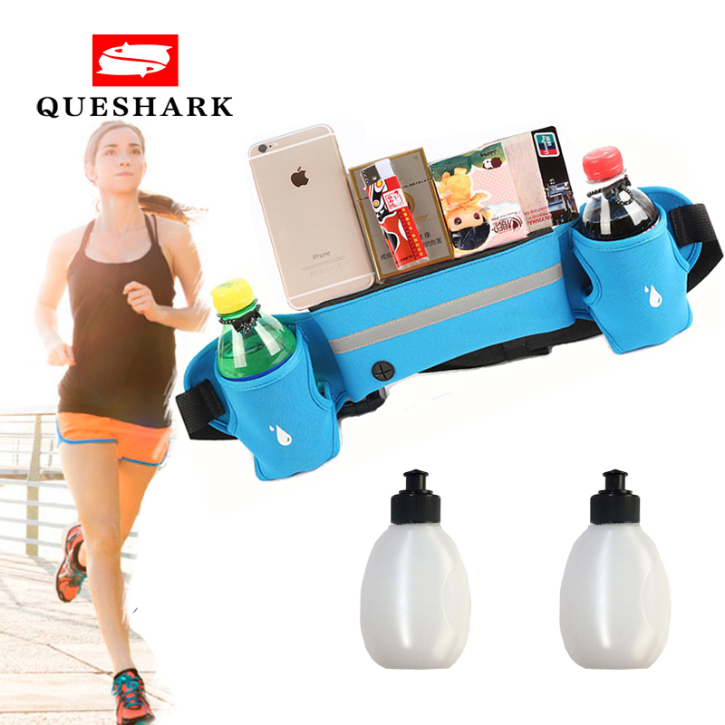 Queshark Running Sports Waist Bag Hydration Belt Bottle Holder Fanny Pack Marathon Reflective Adjustable Waist Belt Bags