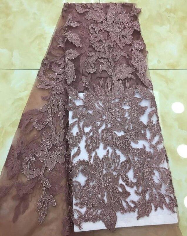 2018 Последние коричневый цвет Африканский Французский кружевной ткани Высокое качество Африканский тюль с кружева для свадьбы