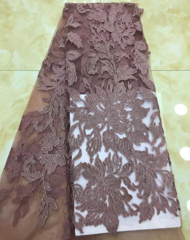 2018 Latest brown color African French Lace Fabric High Quality African Tulle cut Lace For Wedding