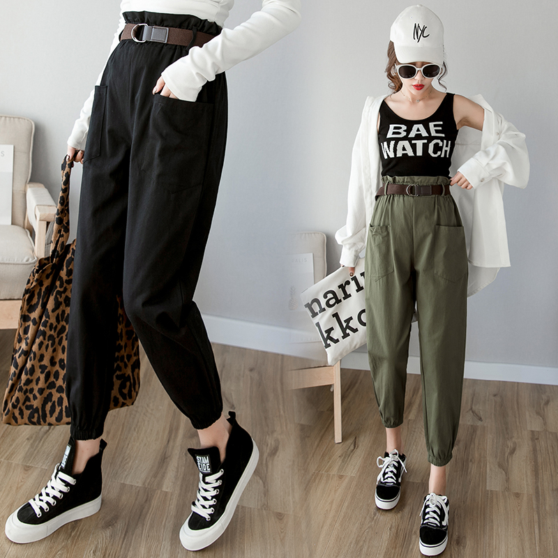 Women pants 2019 spring summer fashion female solid high waist loose harem pant pencil trousers casual