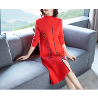 Red Sweater Dress 2018 Women's Autumn Winter Fashion Stand Collar Long sleeved Embroidered Knee length Split Knitted Wool Dress