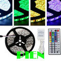 5m 5050 RGB led strip fita de led tape 300 LEDs diode feed tiras lampada non waterproof 12V+44 key rgb controller Free Shipping