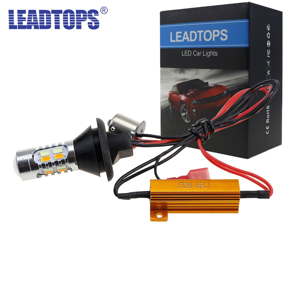 LEADTOPS LED DRL Turn Signal Light T20 +1156 Car Auto Front Side Turn Signal + DRL Daytime Running Lights Bulbs DJ