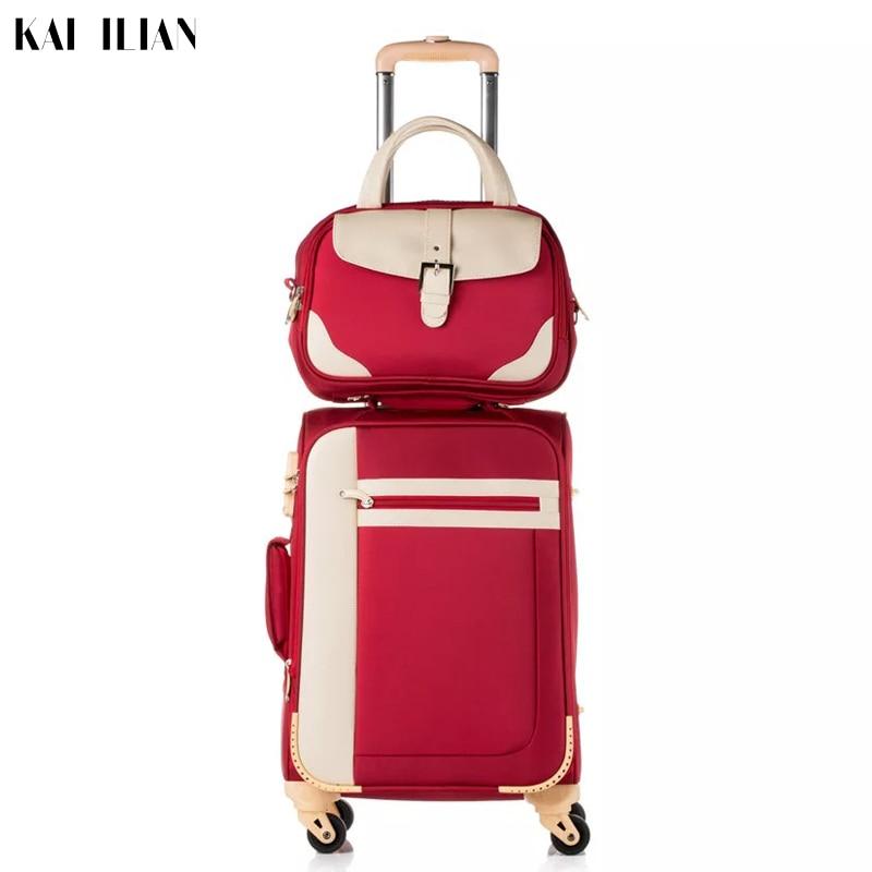 Valise femmes ensemble voyage spinner roulant valise trolley sur roues avec sac cosmétique étanche oxford bagages en tissu