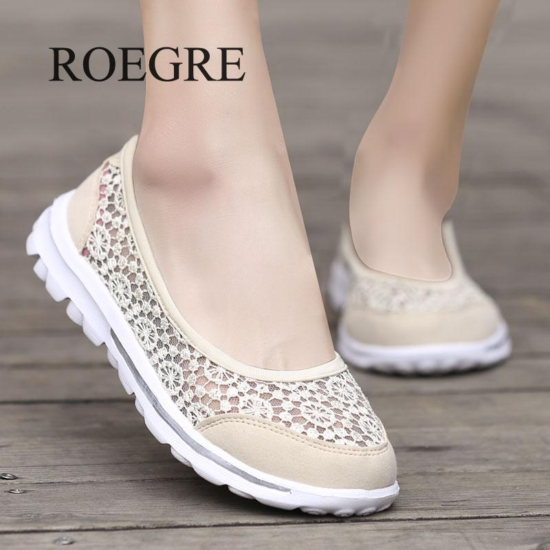 2019 Spring Summer Women Flats Shoes Lightweight Comfortable Leisure Lace Mesh Shoes Female Slip On Loafers