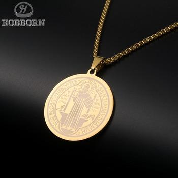 3c4088907d5 HOBBORN clásico San Benedicto medalla colgante collares mujeres 316L Acero  inoxidable colgante Biblia Cruz collar joyería cristiana