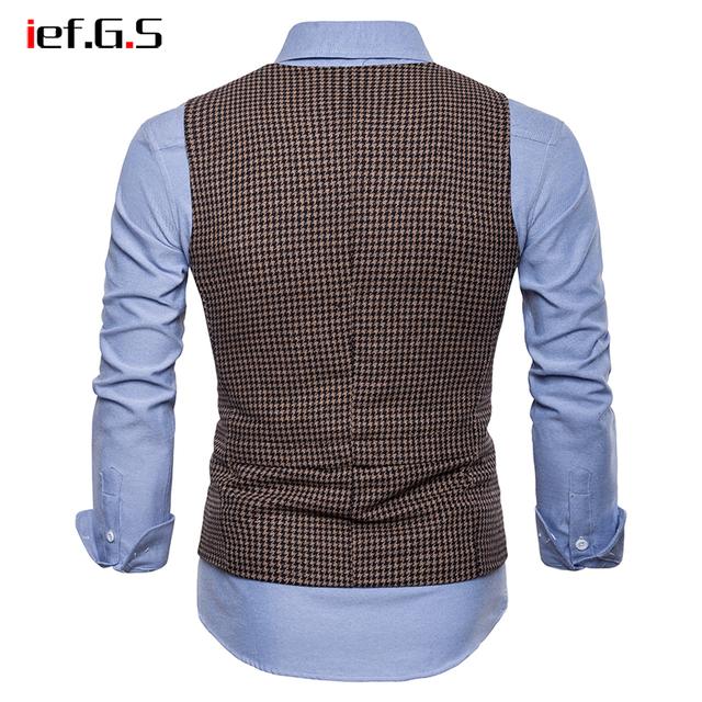 IEF.G.S Brand Plaid Vest Men Single Breasted Wedding Suit Vests Slim Fit Sleeveless Business Vests No Shirts Dress Vests Autumn