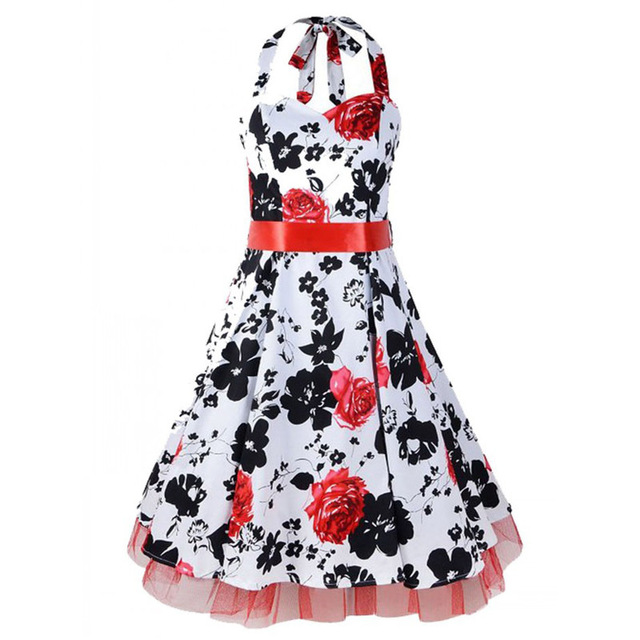 9dd469aa1b23a 50s 60s Vintage Retro Audrey Hepburn Style Floral Pattern Halter Rockabilly  Bridesmaid Party Swing Dress