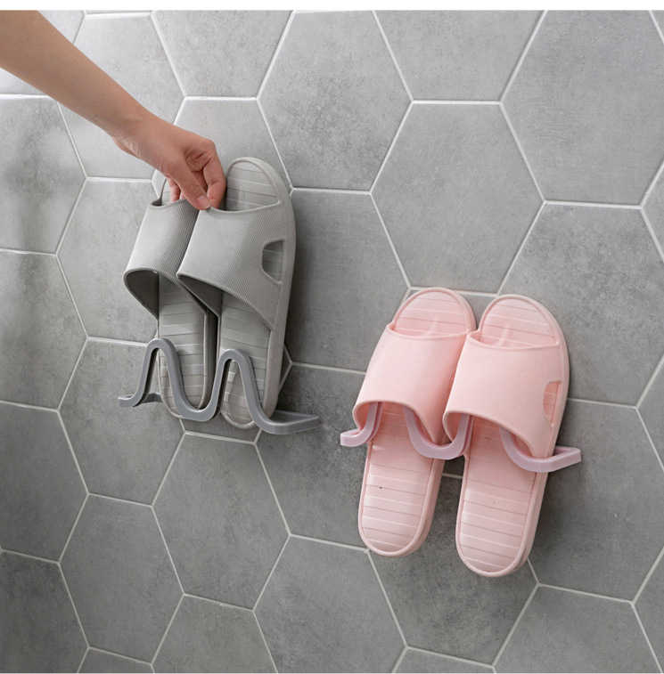 Wall-mounted shoe rack bathroom wall-mounted slippers shelf home space saving no trace shoe storage rack