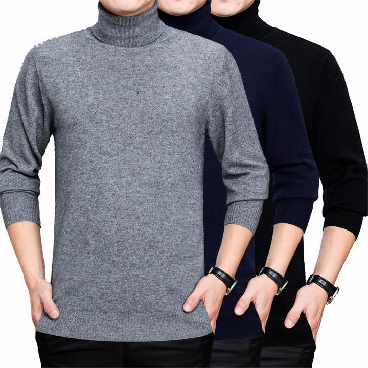 Мужские водолазки кашемировый свитер осень и зима мужской сплошной Slim Fit теплый свитер с высоким воротником шерстяной свитер, джемпер