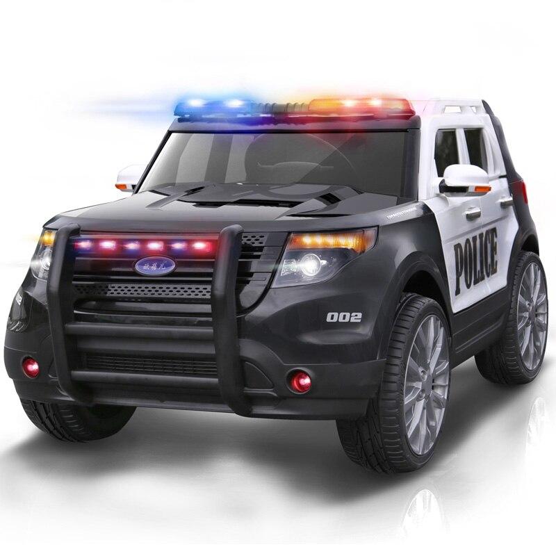 La nouvelle voiture électrique pour enfants à quatre roues tout-terrain véhicule balançoire fonction voiture de Police voyage jouet